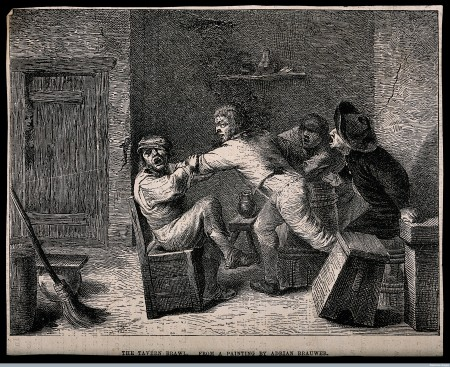 V0019463 A drunken brawl in a tavern with men shouting encouragement. Credit: Wellcome Library, London. Wellcome Images images@wellcome.ac.uk http://wellcomeimages.org A drunken brawl in a tavern with men shouting encouragement. Wood engraving, 19th century, after A. Brouwer. By: Adriaen BrouwerPublished:  -   Copyrighted work available under Creative Commons Attribution only licence CC BY 4.0 http://creativecommons.org/licenses/by/4.0/