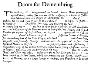 Doom for Demembring: Assault in Scots Law – Legal History